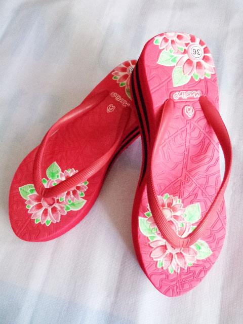 Sandal Merlin ASLI Spon IMPORT Tebal Print merah
