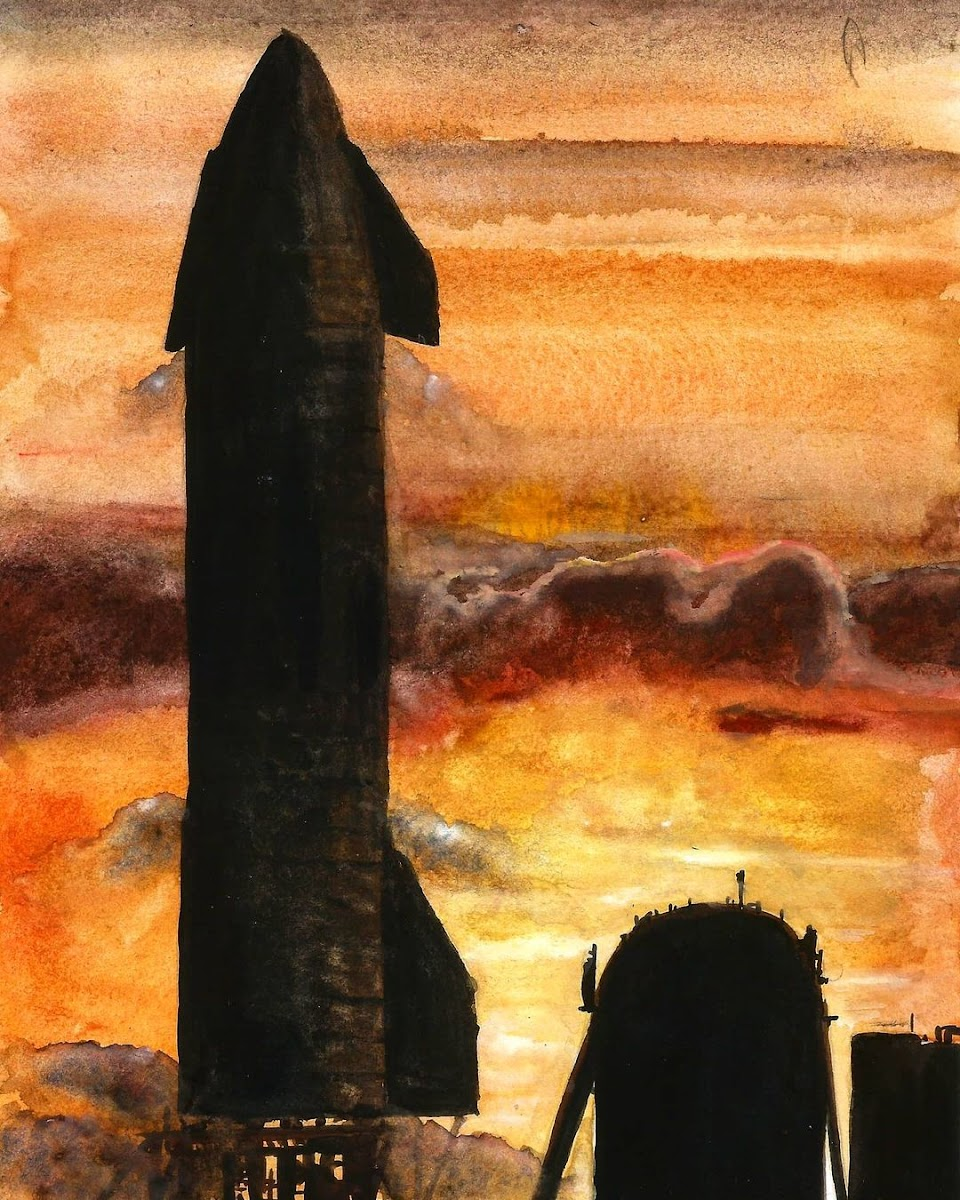 Painting of SpaceX's Starship SN8 on launch stand by Colin Doublier