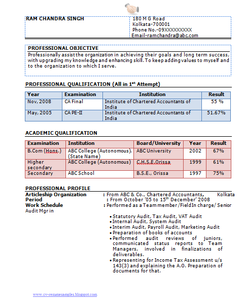 sample resume for experienced chartered accountant professional