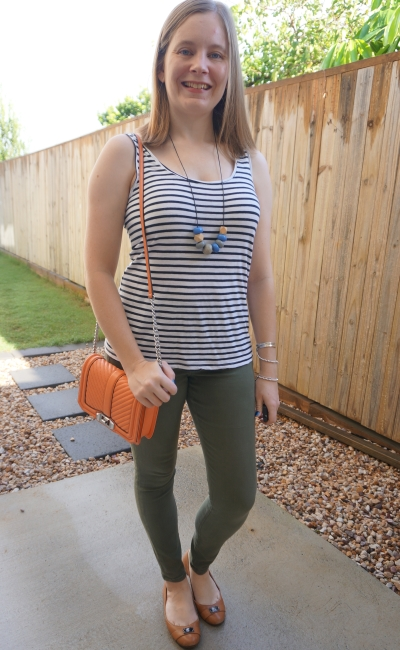 navy white striped tank with olive skinny jeans autumn mum style | away from blue