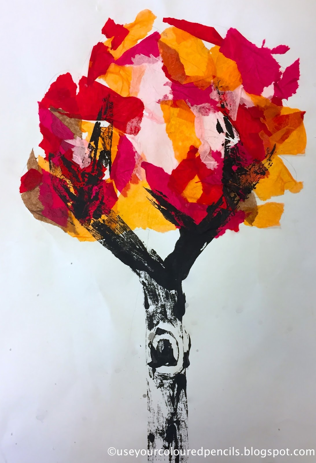 Use Your Coloured Pencils: Tree Collagraphs