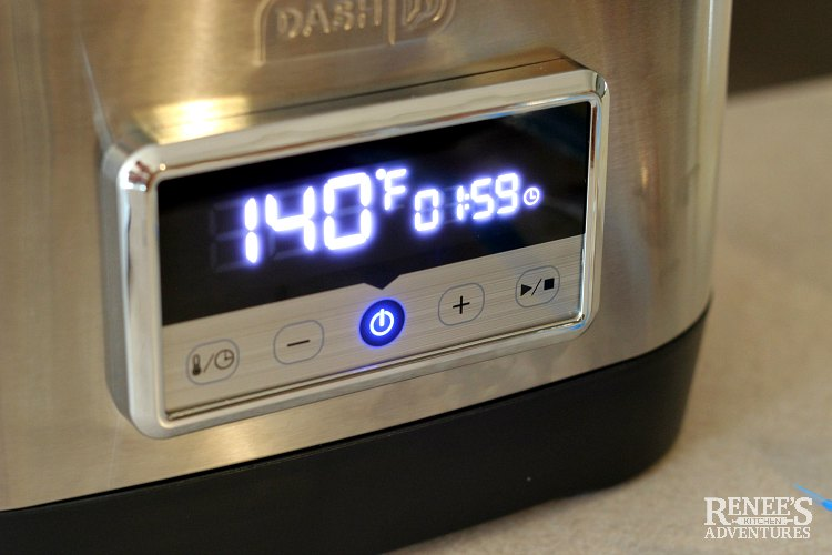 Sous vide machine set at 140 degrees F for 2 hours.