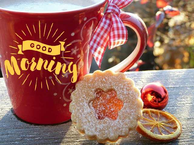 Good Morrning image with coffee cup and cookies