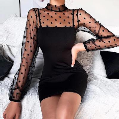 vestido negro con manga mesh