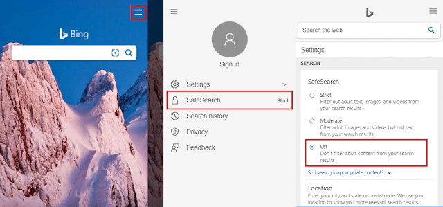Cara Mematikan SafeSearch Bing