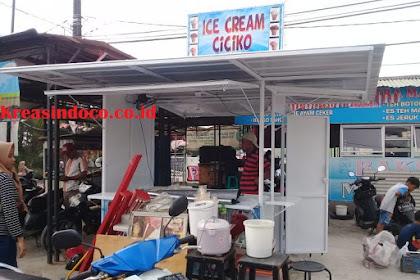 Gerobak Booth Besi Untuk Jualan Es Cream Siap Menerima Pesanan