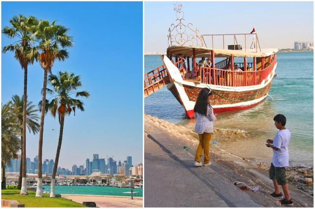 Al Corniche y West Bay en Doha - Barca dhow y niños