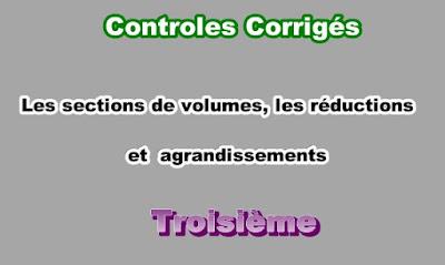 Controles Corrigés Sur Les Sections de Solides 3eme en PDF