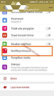 Setelan kontak notifikasi whatsapp