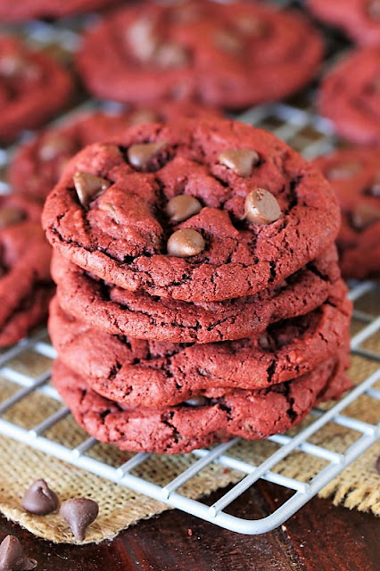 Stack of Red Velvet Chocolate Chip Cookies Image