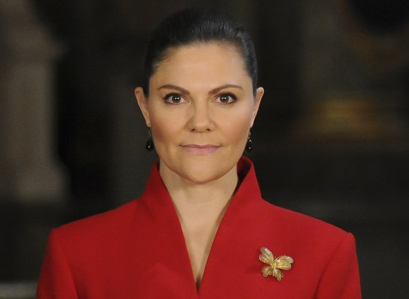 Crown Princess Victoria wore a bright red 1950s style peplum jacket from By Malina. Delpozo belted cotton peplum jacket. Tiger of Sweden coat