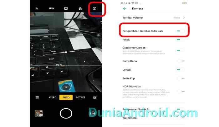 menu pengaturan kamera Realme 3 / 5