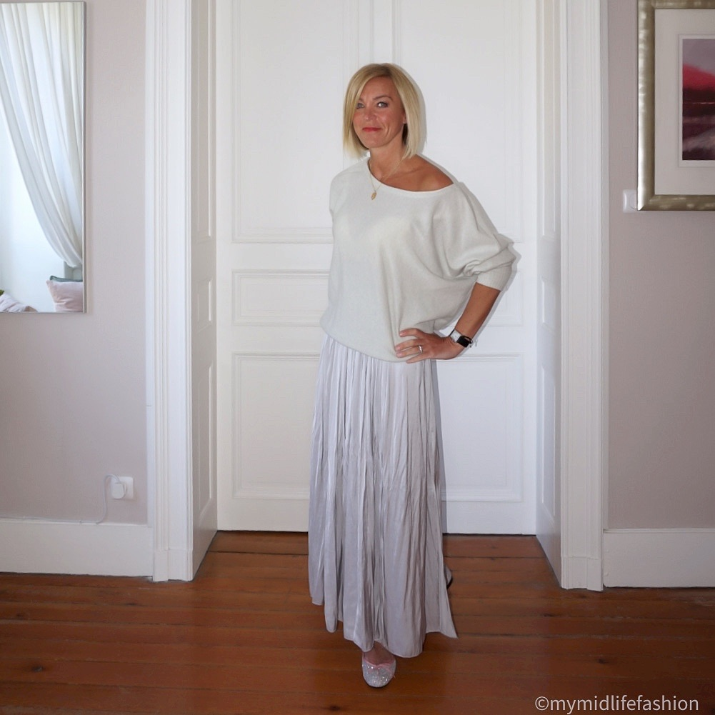 My midlife fashion, iris and ink cashmere off the shoulder jumper, Massimo Dutti pleated maxi skirt, french sole henrietta glitter ballet pumps