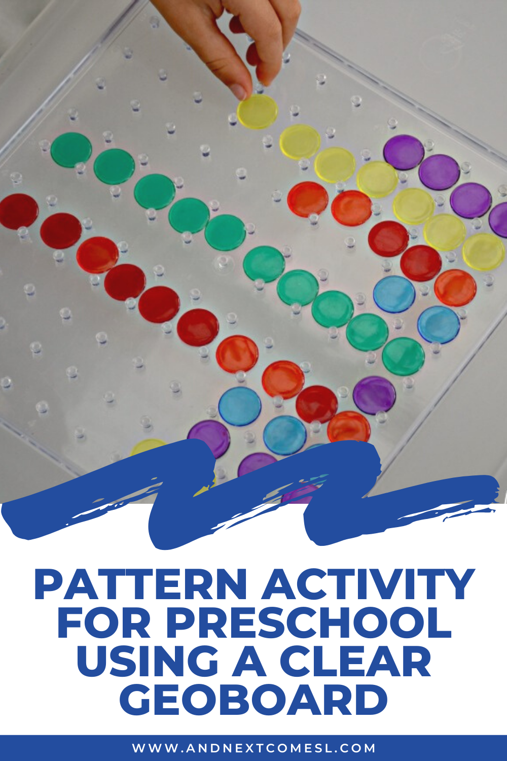 Patterning activity for preschool and kindergarten kids using a clear geoboard - great on the light table too!
