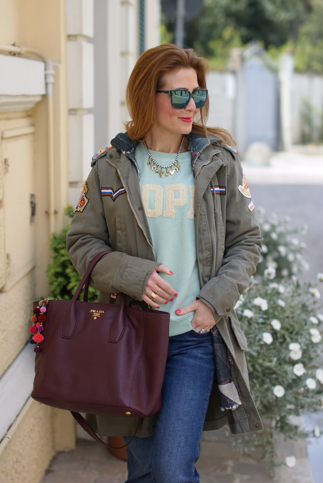 Hope sweatshirt, Parka jacket and Prada tote on Fashion and Cookies fashion blog, fashion blogger style