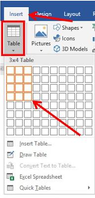 langkah membuat tabel di word