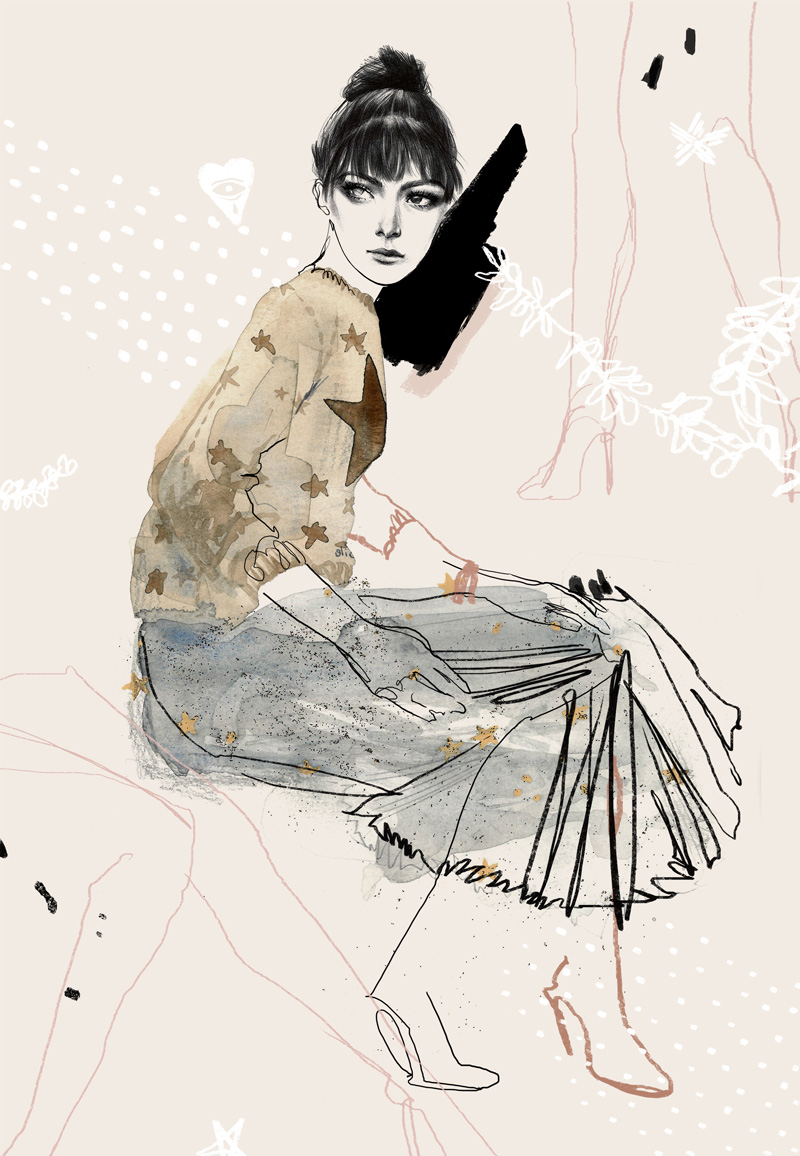dior fashion illustration by anna oh