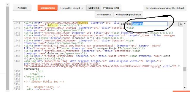 Cara Mencari & Menemukan Kode di Kolom Edit HTML Template Platform Blogger
