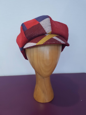 Casquette Gavroche velours bordeaux et écossais