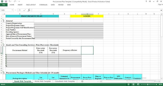 Procurement Plan Excel Template