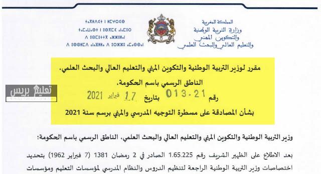 مقرر وزاري بشأن المصادقة على مسطرة التوجيه المدرسي والمهني برسم سنة 2021