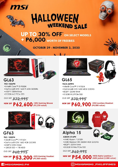 Score up to 30% off, freebies on MSI laptops this Halloween weekend