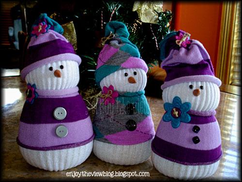 sock snowmen with hats