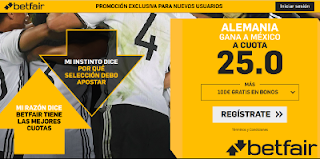 betfair supercuota victoria de Alemania a Mexico 17 junio