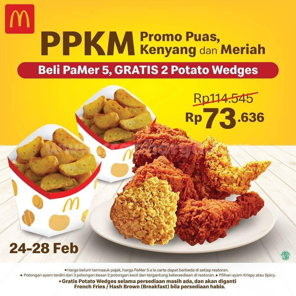 McDonalds Promo Paket 5pcs ayam hanya Rp 73.636 + GRATIS 2 POTATO WEDGES