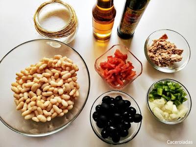 Ingredientes para ensalada de judías blancas