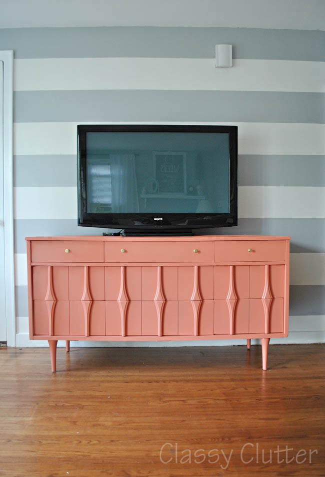 Coral And Gold Tv Console Classy Clutter