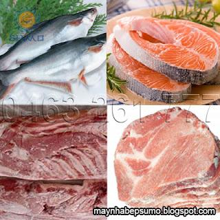 thịt cá đã được máy cắt khúc