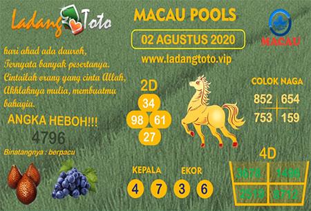 Prediksi Ladang Toto Macau Pools Minggu 02 Agustus 2020