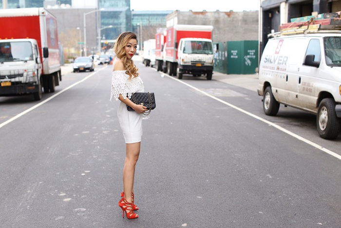 572d48266386 Endless rose Cold Shoulder Lace Mini Dress, chanel classic flap bag,  giuseppe zanotti sandals