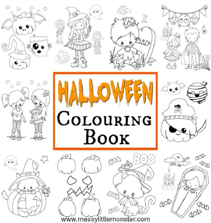 free printable halloween colouring in book