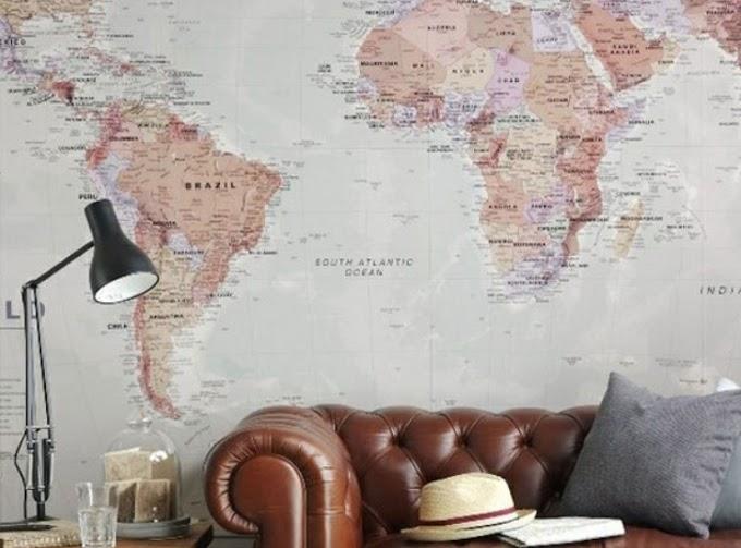 Ταπετσαρίες με χάρτες για τον τοίχο (διαφορετική διακόσμηση)