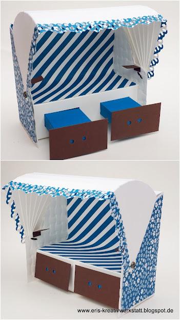 Strandkorb in Blau und Weiß - Nachwirkungen des Urlaubs auf Sylt Stampin' Up! www.eris-kreativwerkstatt.blogspot.de