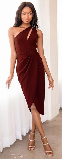 Burgundy Midi One Shoulder Dress