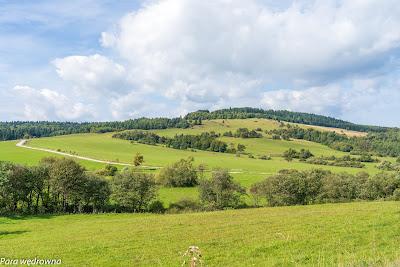 Krajobraz z drogi na Przełęcz Beskid; widoczna droga z Mochnaczki do Izb
