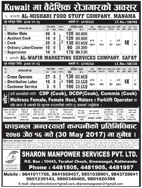 Jobs in Kuwait for Nepali, Salary Rs 57,230