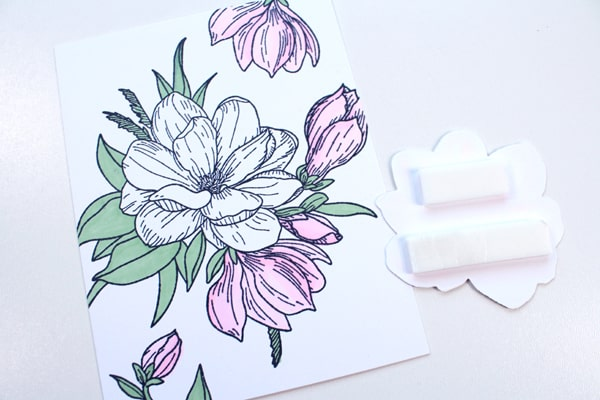 Assemble the handmade card flower with tombow foam tape