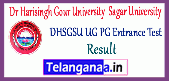 DHSGSU Dr Harisingh Gour University Sagar University UG PG Entrance Test Result