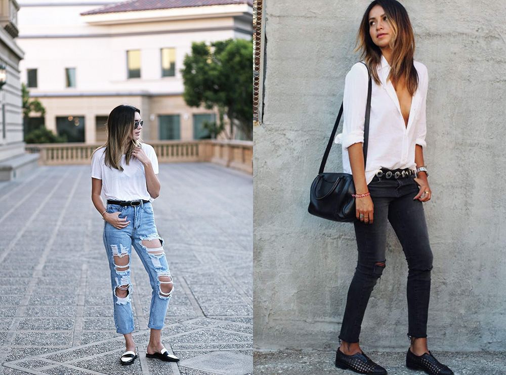 t-shirt bianca abbinamenti casual