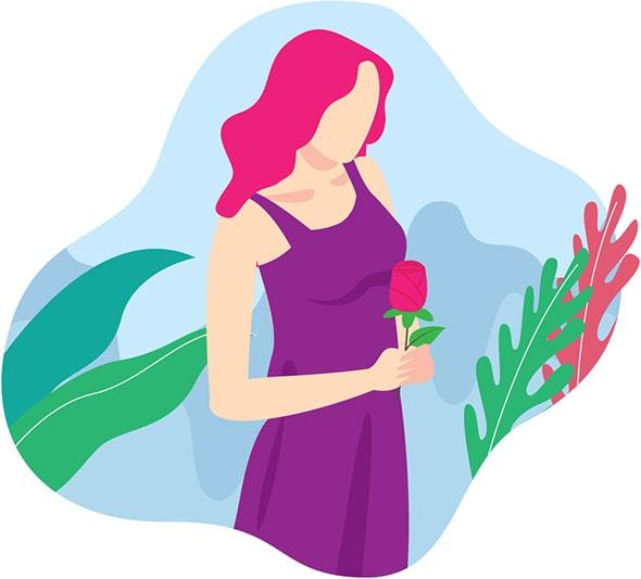 Ilustración de mijer con una rosa en la mano con fondo botánico celeste y varios verdes