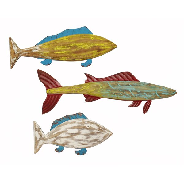3 Piece Fish Wood and Metal Wall Décor Set
