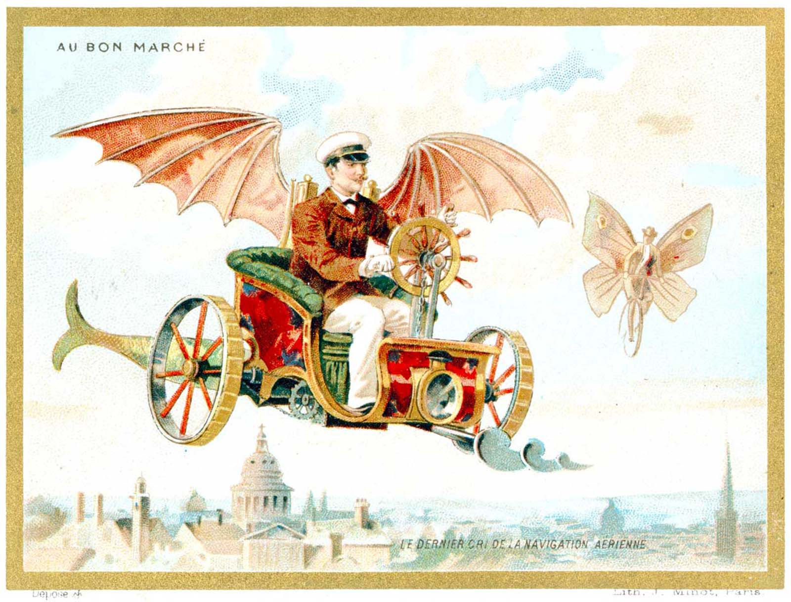 Au Bon Marche company issued comical futuristic ad cards like this one of a flying car. 1890.