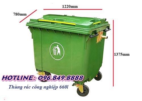 Xe thu gom rác công nghiệp 660l