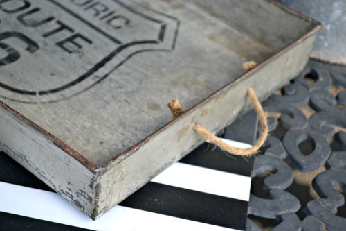 Industrial tray with stencil