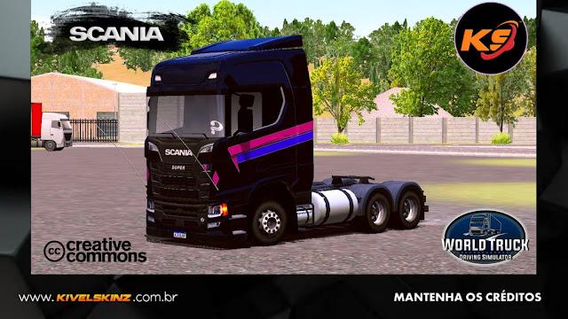 SCANIA S730 - ESCURO COM FAIXAS ROXAS