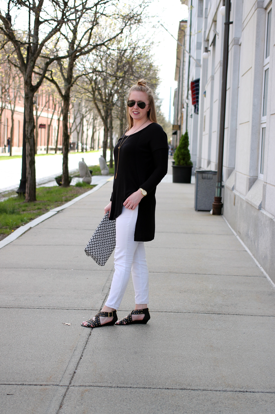 boston blogger outfits, boston blogger spring, black and white street style, street style boston, vince camuto woven clutch, woven black and white clutch, free people thermal top, free people at lord and taylor, shop my post